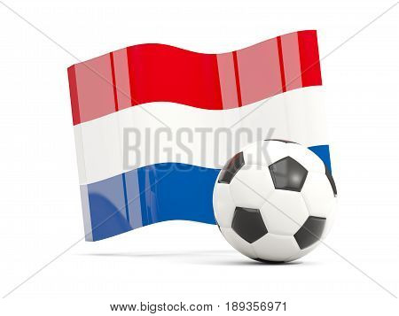 Football With Waving Flag Of Netherlands Isolated On White