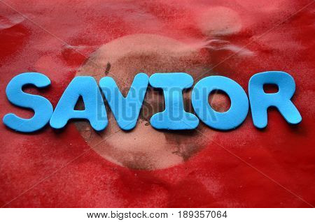 word savior on a  abstract colorful, background