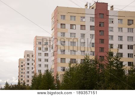 Many-storeyed houses on the passage Of the Peoples of the North city New Urengoy North of Russia. YaNAO