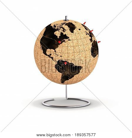 Desktop Globe With Pins On The Map 3D