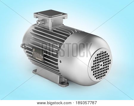 Electric Motor Without Shadow On Blue Gradient Background 3D