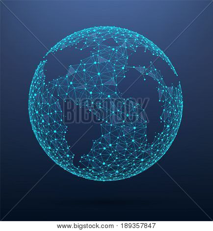 Global network connections world map consisting of points and lines. Bright wireframe of network communications.