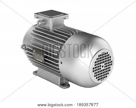 Electric Motor Without Shadow On White Background 3D