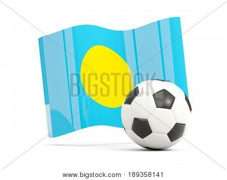 Football With Waving Flag Of Palau Isolated On White