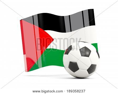 Football With Waving Flag Of Palestinian Territory Isolated On White