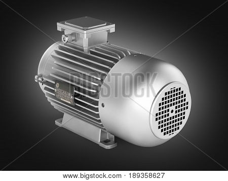 Electric Motor Without Shadow On Black Gradient Background 3D