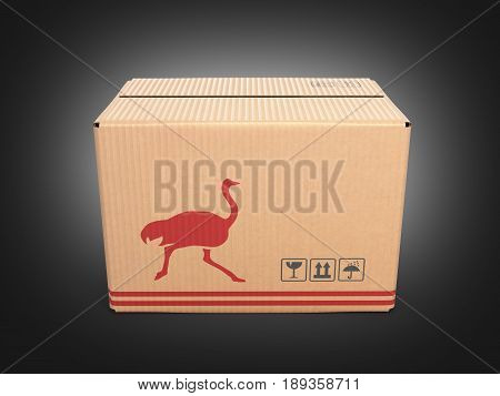 Cardboard Box On Black Gradient Background 3D