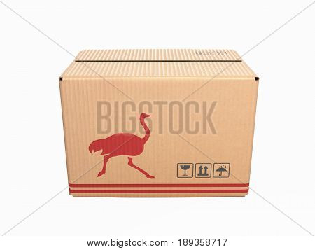 Cardboard Box Without Shadow On White Background 3D