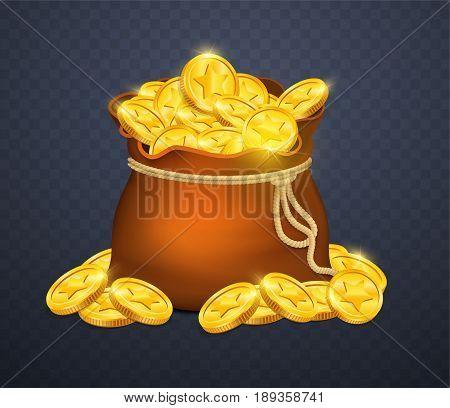 Money bag on transparent background. Vector illustration