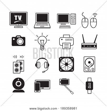 Set Of 16 Icons Of Computer Equipment