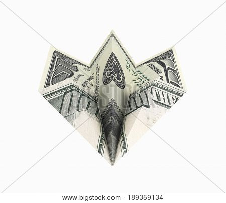 Paper Dollar Plane Without Shadow On White Background 3D