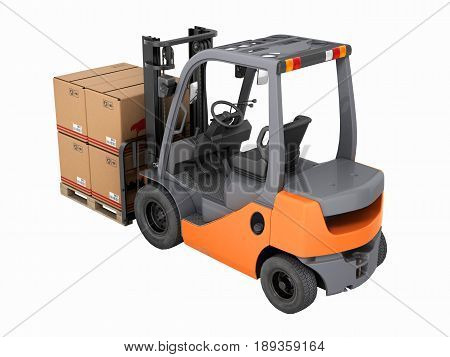 Forklift Truck With Boxes On Pallet Without Shadow On Whote Background 3D