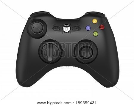 black gamepad without shadow on white background 3d