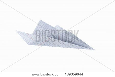 Paper Plane Made With Graph Paper Without On White Background 3D