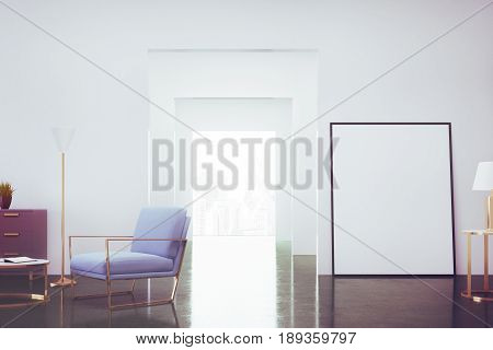 living room interior with a blue armchair a dresser with a potted plant on it and a vertical poster standing near a door. 3d rendering mock up toned image