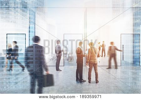 People in a blue transparent office lobby with a conference room and two open space offices by its sides. Cityscape. Blue glass doors. 3d rendering mock up toned image double exposure