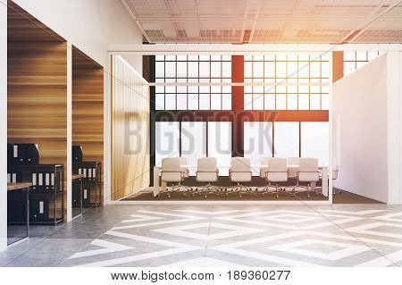 Office hall interior with diamond floor pattern wooden and white walls and loft windows. Conference room with a long white table and many chairs. 3d rendering toned image