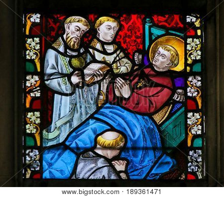 Stained Glass - Saint On His Deathbed