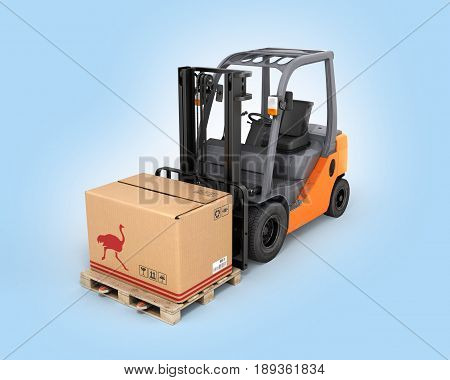 Forklift Truck With Box On Pallet On Blue Gradient Background 3D