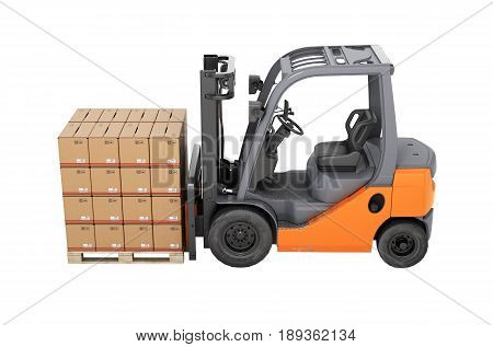 Forklift Truck With Boxes On Pallet Side View Without Shadow On White Background 3D