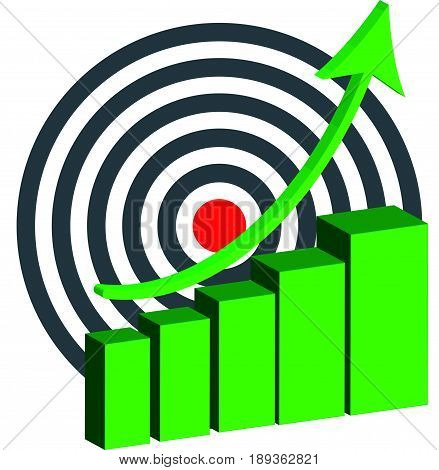 Abstract graph on white background with dartboard. Vector illustration.