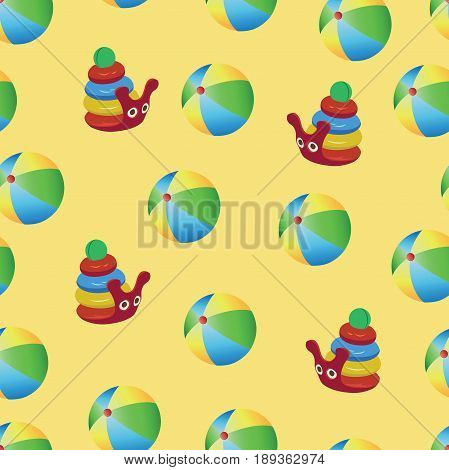 Snail pyramid and inflatable balls. Seamless pattern on yellow background. Design of packaging for children's products, textiles, tapestries, background image