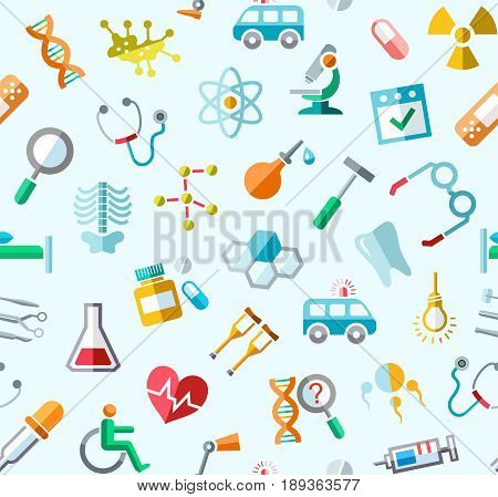 Medicine, colored background, seamless, blue, vector. Colored icons of medical services, and tools on a light blue field. Vector background.