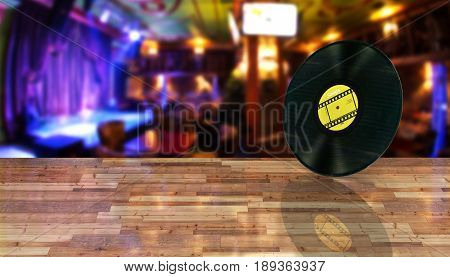 Vinyl Record Retro Sound On Bar Background With Reflection On Wood Floor 3D