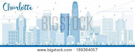 Outline Charlotte Skyline with Blue Buildings. Business Travel and Tourism Concept with Modern Architecture. Image for Presentation Banner Placard and Web Site.