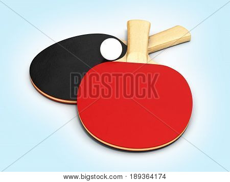 Ping-pong Rackets With Ball On Blue Gradeint Background 3D