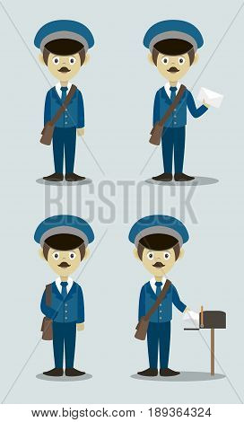 Official Postman set In Uniform With Handbag And Letter