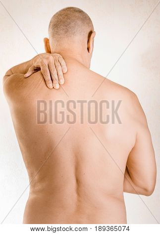 Man Suffering Of Trapezius Muscle Pain