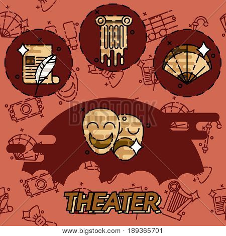 Theater flat concept icons, drama, comedy, curtain and mask, tragedy Vector illustration