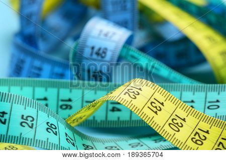 Rulers For Sewing In Yellow, Blue And Cyan Colors