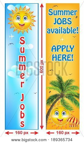 Summer Jobs offer - banners. Web banners for companies / Employers that are looking for seasonal employees. Advertising for part time and full time jobs.