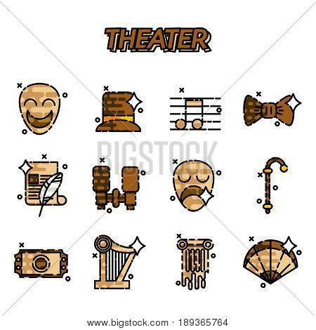 Theater flat icons set, drama, comedy, curtain and mask, tragedy Vector illustration