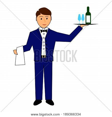 Waiter holds tray with wine and glasses waiter service