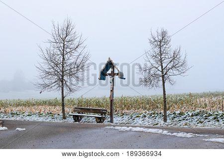 A Wooden Wayside Cross - Wayside Cross In Axtbrunn In Bavaria - Germany