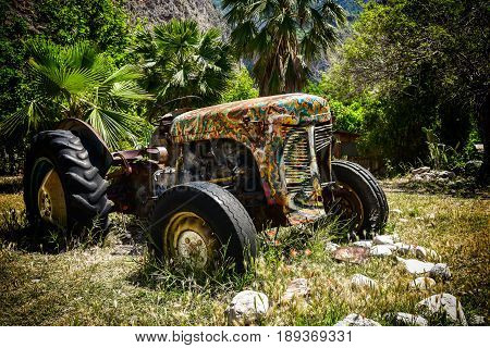 Old tractor abandoned against palm tree in Butterfly Valley in Turkey