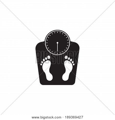 floor scales solid icon, human footprints, vector graphics, a filled pattern on a white background, eps 10.