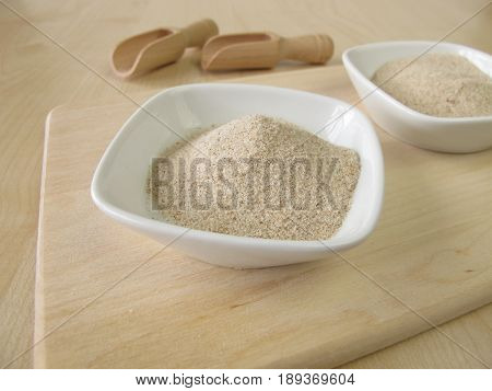 Superfood ground psyllium seed husks in bowl