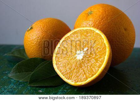 Orange fruit. half of orange Orange slices