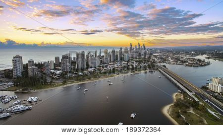GOLD COAST, AUSTRALIA - APRIL 14 2017: Colourful sunrise over Surfers Paradise Gold Coast, view from Southport