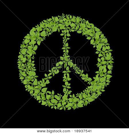 Green plant peace symbol poster