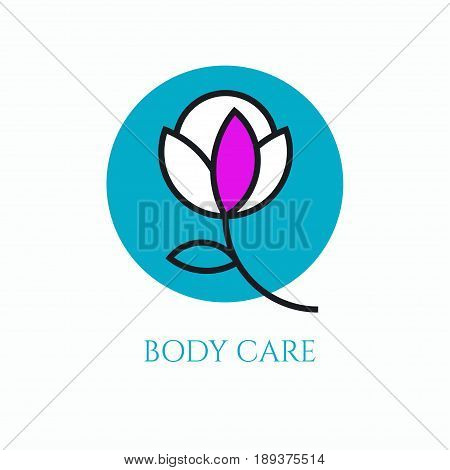 Logo body care for cosmetic products beauty salon massage. Elegant flower. Vector illustration