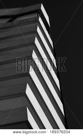MILAN, ITALY - APRIL 17, 2016: Milan (Lombardy Italy): modern residential buildings in the new Citylife area (Tre Torri). Black and white