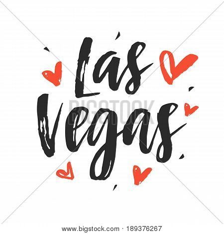 Las Vegas. Modern city hand written brush lettering, isolated on white background. Ink calligraphy. Tee shirt print, typography postcard, poster design. Vector illustration.
