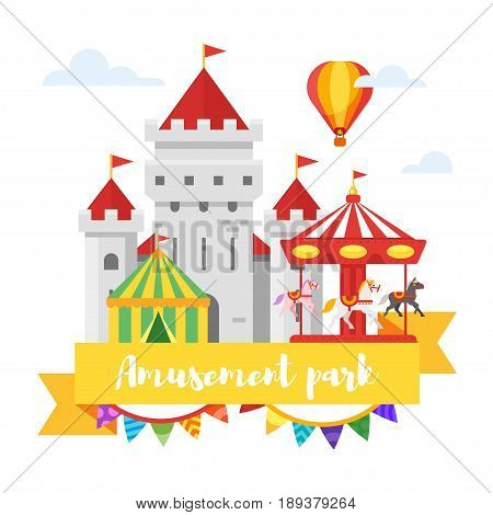 Vector flat style illustration of amusement park or funfair design. Isolated on white background.