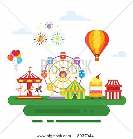 Vector flat style illustration of amusement park for kids. Isolated on white background.