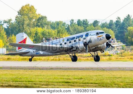 Douglas Dc-3 Ready For Take Off. Russia. Moscow August 2015.